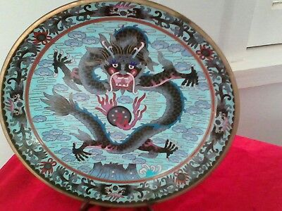 Antique Chinese Cloisonne Imperial Dragon Plate