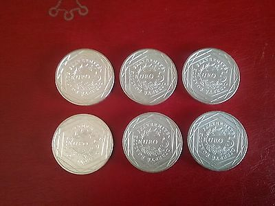 Lot De 6 Pieces De 5 Euros En Argent 2008 / Monnaie De Paris.