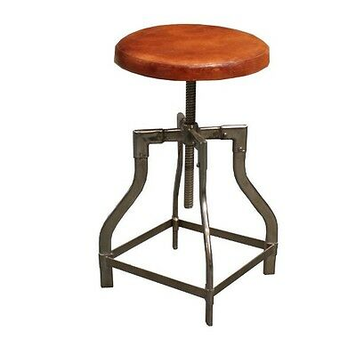 Industrial Stool Nickel Plated Steel And Leather Seat (Adjustable Height)