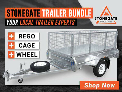 7x4 Premium Box Trailer Bundle (Rego, Cage & Spare Wheel)