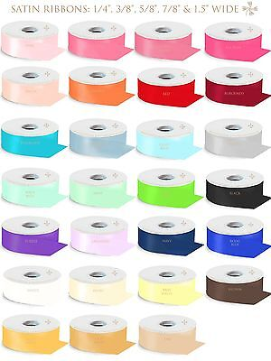 "1/4"" 3/8"" 5/8"" 7/8"" 1.5"" Wide Satin Ribbon 100% Polyester 50 100 Yards Roll"