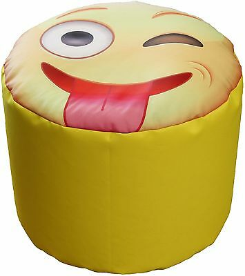 Pouf Bean Bag Tondo Per Interno Emoj Emoticons Linguaccia