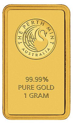 1g gold bar by Perth Mint with certificate and blister check card 9999