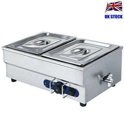 Hot Sell Stainless Steel Electric Bain Marie Cafe Food Warmer 2* 1/2 Pans & Lids