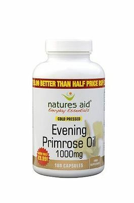 Natures Aid 1000mg Evening Primrose Oil - Pack of 180 Capsules