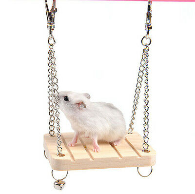 New Parrot Hamster Small Wooden Swing Bell Hanging Bed Shake Toy Pet Supplies