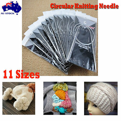 """High Quanity 11pcs 32"""" 80cm Stainless Circular Knitting Needles Size 6-16"""