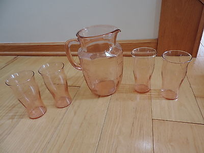 Art Deco Pink Glass Pitcher 4 Glass Glasses Tumblers Iced Tea Water Vtg (c271)