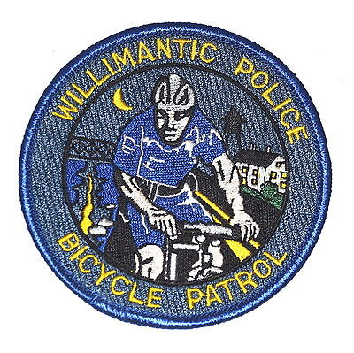 """WILLIMANTIC - BICYCLE PATROL - CONNECTICUT CT Police Patch BIKER MOON 3.25"""""""