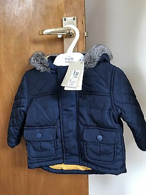 baby boys coat 3-6 months Marks And Spencer's Navy Blue / Yellow RRP£22