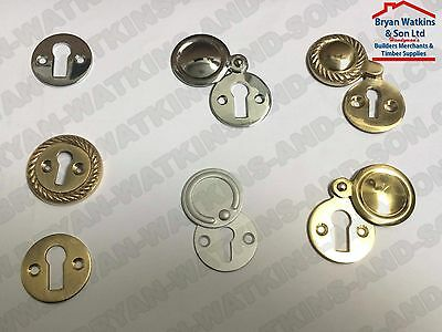 Georgian, Victorian, Modern Door Key Hole Escutcheons, Brass/Chrome/Aluminium