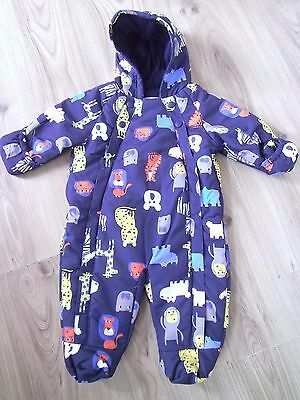 Ex M&S Baby Boys Navy Blue Animal Zoo Snowsuit All in One Age 0 3 6 9 12 18