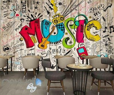 3D Graffiti Music Color Board Wall Murals Wallpaper Wall Art Decals Decor