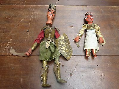 2 Vintage Tunisian Tourist Puppets Oriental Asian Articulated Warriors Battle