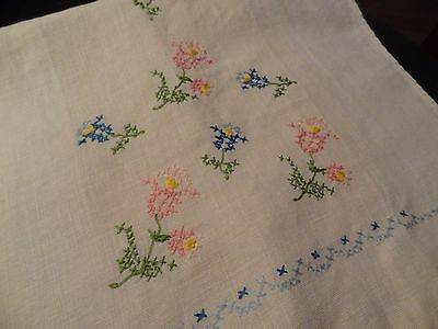 "Vintage 19""  Linen Tea Towel ~ Hand Embroidered Cross Stitch Flowers"