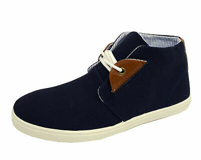 Mens Navy Lace-Up Desert Canvas Smart Casual Ankle Boots Hi-Top Shoes Uk 6-11