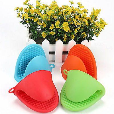 Silicone Pot Holder Oven Mini Mitt Set of Cooking Pinch Grips Kitchen Heat WZ03