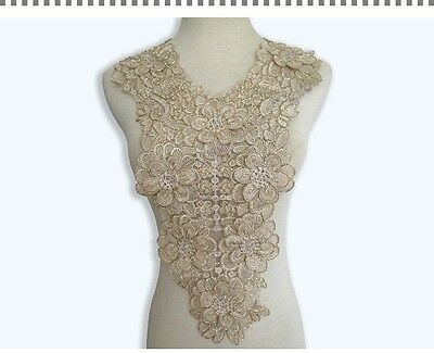 3D Floral Embroidery Lace Collar Fabric Trim DIY Embroidery Lace Fabric Neckline