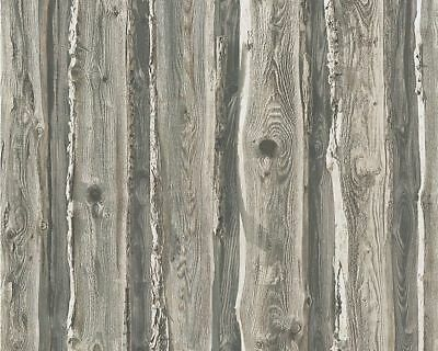 Realistic Weathered Wood Panel Effect Wallpaper with a Hand Carved Flower Design
