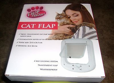 Pet Cat Door Flap 4 Way Lockable Kitten Puppy Entrance Size 16 x 16 opening