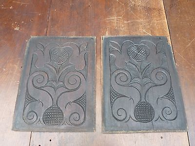 A Pair Of Antique Hand Carved Church Chapel Oak Panels Circa 1870 Studio Decor !