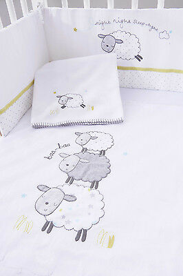 Silvercloud Counting Sheep Space Saver 4 Piece Space Saver Cot Bedding Set