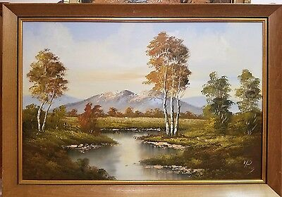 "Van Rooy Vintage Live Painted Stretched Canvas Landscape Wall Art 36"" x 24"""