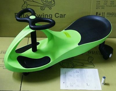 New Swing Swivel Scooter Car Ride Wiggle Gyro Twist Kids Ride Green Children