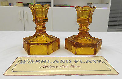 Lot of 2 Used Fostoria Amber Glass Candlestick Holders (Coin Dot, Liberty Bell)