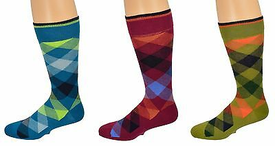 Sierra Socks Men's Dress Casual 3 Pair Pack Combed Cotton Argyle Socks M6000U