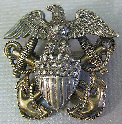 US Navy WWII Sterling + 1/20K Gold Pin Eagle Anchors Shield Rope Great Detail