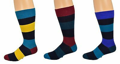 Sierra Socks Men's Dress 3 Pair Pack Cotton Rugby Stripe Pattern Socks M8050U