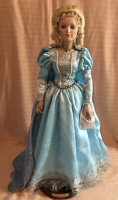 """Cinderella Porcelain Doll from The Danbury Mint   Beautiful Rare Doll  24""""  COO"""