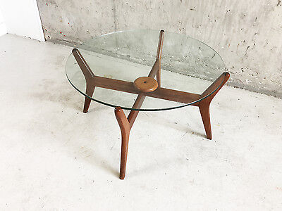 Vintage 1960's mid century oak frame circular coffee table