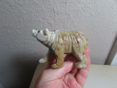 Brown Bear, Hand carved Marble from the Andes of Peru, Rich Colored stone Bear