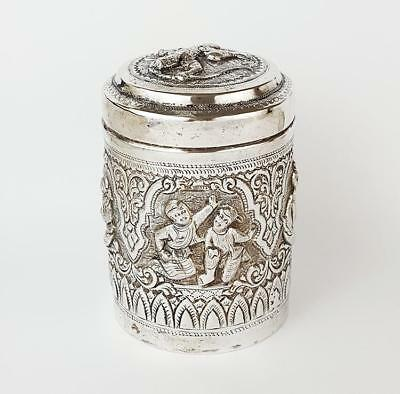 Fine INDIAN / BURMESE SILVER Deities CYLINDRICAL TEA CADDY / BOX c1920