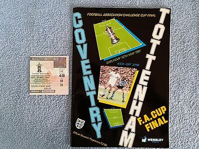 1987 - FA CUP FINAL PROGRAMME + MATCH TICKET - COVENTRY CITY v TOTTENHAM