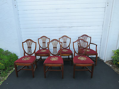 Set of 6 Back Shield Mahogany Needle Point Tapestry Dining Chairs 8489