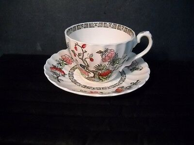 Myott Fine Staffordshire Ware of Eng~Indian Tree Pattern~Grooved~Cup & Saucer