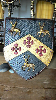 Antique Carved Oak Heraldic Shield With Coat Of Arms