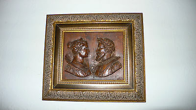 Framed Relief Carved Italian Wood Busts of 16th Century Eleonora & Tasso
