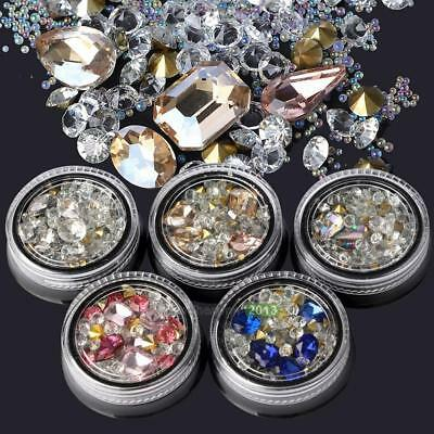 Fashion Nail Art Rhinestones Glitter Diamond Tips 3D Tips DIY Decoration Box Kit
