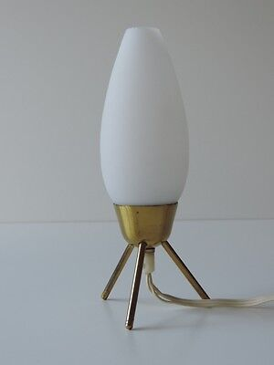 VINTAGE TRIPOD TISCHLAMPE LAMPE MESSING GLAS SPUTNIK ERA 60er JAHRE TABLE LAMP