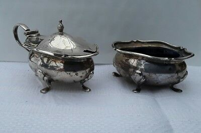 A Solid Silver Mustard Pot & Matching Salt with Liners, Walker & Hall 1916/17