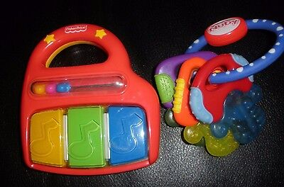Lot 2 Baby Toys Fisher Price Musical Abacus Rattle Piano Nuby Gel Teething
