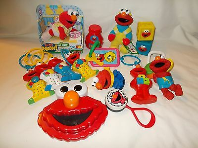 Sesame Street Elmo Baby Toy Lot - Plush Cutie, Puzzle, Crib Carseat Rings & More