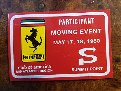 Ferrari Club of America 1980 Dash Badge - Participant Moving Event Summit Point