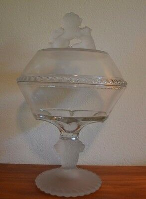 """Glass Lion Head Candy Dish Pedestal With Lid 12"""""""