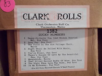 CLARK Nickelodeon Music Roll #1382 - LUCKY NUMBERS  - #83