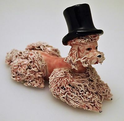 "RARE Vtg 50s/60s Red SPAGHETTI POODLE w/Black Top Hat 3"" Excellent"